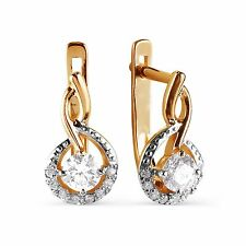 585 Russian Rose Red Gold 14ct  Hoop Huggie Drop Earrings Gift Boxed