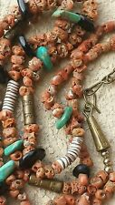 The Oldest TONY AGUILAR SR. CORAL TURQUOISE  necklace NATIVE AMERICAN SD PUEBLO
