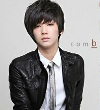 Vogue Men Wig Handsome Sexy Korean Boys Short Black Hair Cosplay Party Wigs +cap
