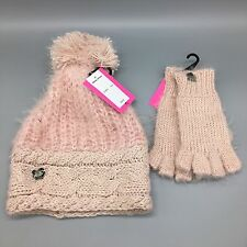 Betsey Johnson Crochet Beanie Blush Pink Winter Hat Gloves PomPom Sequins Set