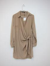 Missguided Crepe Wrap Shirt Dress - Womens US 12 - Mushroom - NWT