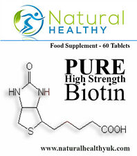 60 Pure Biotin Tablets - For hair loss, brittle nails, skin rash, weight loss.