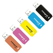 New Integral 32GB Neon USB Flash Drive Memory Stick Pen Thumb - 5 Pack