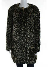 NINA RICCI Brown Black Faux Fur Long Sleeve Animal Print Button Front Coat IT 36