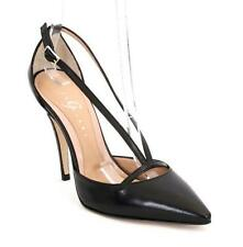 Gibellieri 3622 Black Leather Strappy Pointy Stiletto Pumps 40 / US 10