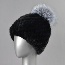 Real Genuine Knitted Mink Fur Hat Cap Winter Warm Lady Women Beret Xmas Gift