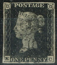 GB 1840 1d Penny Black SG2 Pl 8 (E-C) Fine Used 4 Good Margins Black MX