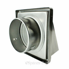 Stainless Steel Wall Air Vent Cowled Hooded Extractor Outlet Non Return Flap 5""