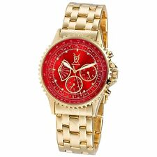 Mens Gold Watch Metal Bracelet Large Red Dial Multifunction Day Date Reloj Cheap