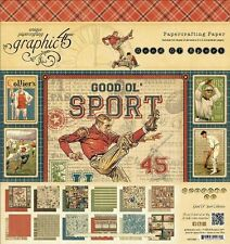 "Graphic 45 scrapbook paper 8"" 24p Good Ol' Sport Football Golf Baseball RETIRED"