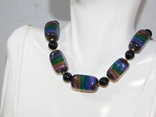 "Chunky Indigo Violet Black Graduated Bead 19"" Necklace 4c 16"