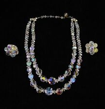 Vintage CRYSTAL Glass BEADS NECKLACE Aurora Borealis AB Clear Opalescent Earring