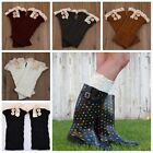 Lady's Crochet Knitted Lace Trim Boot Cuffs Toppers Leg Warmers Winter Socks