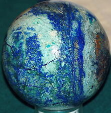 "Arizona Azurite Malachite Cuprite Sphere 1.8 lbs 3 3/4"" diam.  Beautiful Display"