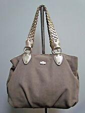 Michael Kors Khaki Canvas Leather Shoulder Strap Drawstring Tote Shoulder Bag