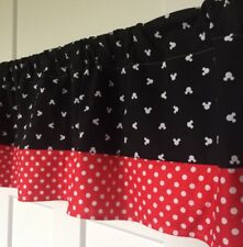 Black With White Mickey Mouse With Red Polka Dots Border Curtain Valance