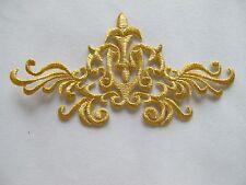 """#3736BDG 5-1/2"""" Gold Trim Fringe Flower Boho Art Embroidery Applique Patch"""