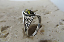 Size 9 3/4, Size T, Size 61, Green Baltic Amber Ring in Sterling Silver #0881