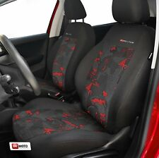2 X CAR SEAT COVERS pair for front seats fit Ford Fiesta charcoal/red