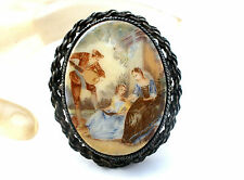 Vintage Transfer Cameo Pendant Brooch Victorian Scene Jewelry Couple Courting