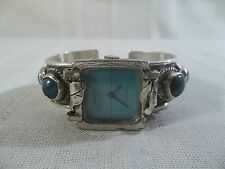 Native American West 17 Jewels Handmade Sterlng & Turquoise Cuff Bracelet Watch
