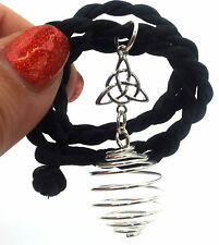 Triquetra Charmed Power of Three Empty Cage Spiral Pendant