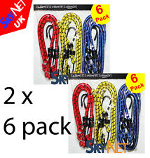 12 x Bungee Cord  Elastic  Luggage Straps Rope Hooks Stretch Tie Car Bike