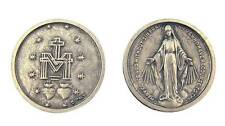 "MRT One Miraculous Mary Antique Finish Silver Plate Catholic Coin Medal 1"" Italy"