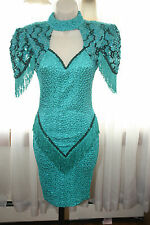VINTAGE Womens Sequin Fringe  Greenish-Blue Party Dress SIZE SMALL