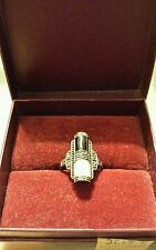 RING STERLING SILVER MARCASITE MOTHER OF PEARL ONYX ART DECO STYLE, Past Times.