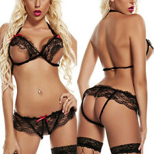 Sexy Women Lingerie Black Temptation Lace Dress Underwear Bra Top G-string Set