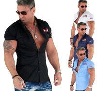 KOSMO LUPO K&M Clubwear Style Herren Designer Kurzarm Hemd Top Optik Neu KM003