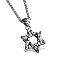 On Sale Necklace Unisex  Mens Stainless Steel Jewish five Star of David Pendant