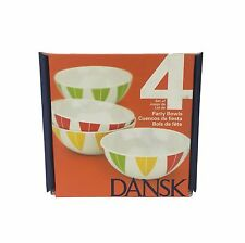 Dansk The Burbs Melamine Party Bowls Set of 4  Leaf Lotus Design