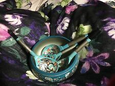 Rare turquoise colored Russian Khokhloma Hand Painted Lacquer Bowl & 4 spoons