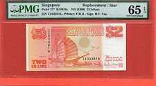 1990 Singapore Ship $2 note .ZZ replacement PMG 65 EPQ