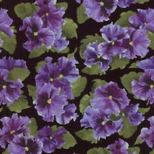 Debbie Beaves Lovely Purple Black Green Pansy Floral Quilt Fabric 1444--001 3C