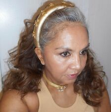 ESCADA Vintage Headband Metallic Gold Leather Stars Charms Hapachico Couture