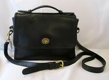 COACH COURT BAG BLACK LEATHER CONVERTIBLE CROSSBODY SHOULDER HANDBAG PURSE 9870