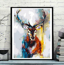 Framed Painting by Number kit Colorful Stag Buck Reindeer Animal Beast JC7474