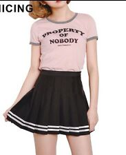 Size 10 Pleated Black Striped Skirt Japanese Schoolgirl Anime Lolita Kawaii
