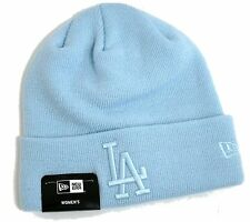 LADIES NEW ERA PALE BLUE LA DODGERS ACRYLIC LOGO BEANIE KNIT HAT ONE SIZE