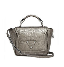 Nwt GUESS Off Beat Textured Top handle Crossbody Handbag Purse Metallic Pewter