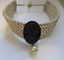 VTG VICTORIAN REVIVAL CAMEO & FAUX BAROQUE PEARL 5 STRAND WIRE CHOKER NECKLACE