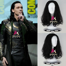 The Avengers Loki Wig Men's Long Curly Black Movie Anime Cosplay Wig Free cap