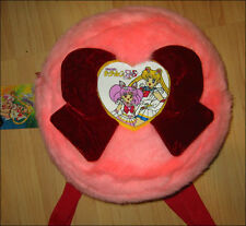 Super SailorMoon Cute fur plush round School Backpack Bag Chibi Moon Manga RARE!