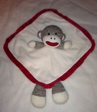 "*Baby Starters Plush Sock Monkey Lovey Red & White 12"" Blanket with Rattle EUC"