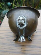 Antique Chinese Bronze/brass? Censor Bowl  with Foo Dog/ Lions Tripod Feet