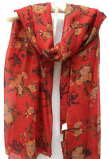 Striking Red Rose Floral Pashmina Scarf Wrap Cowl Shawl  Large Oversize Gifts