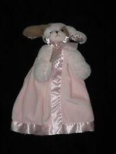 """Bearington Baby Security Blanket Plush Puppy Dog Waggles Lovey Pink Tan 15"""""""